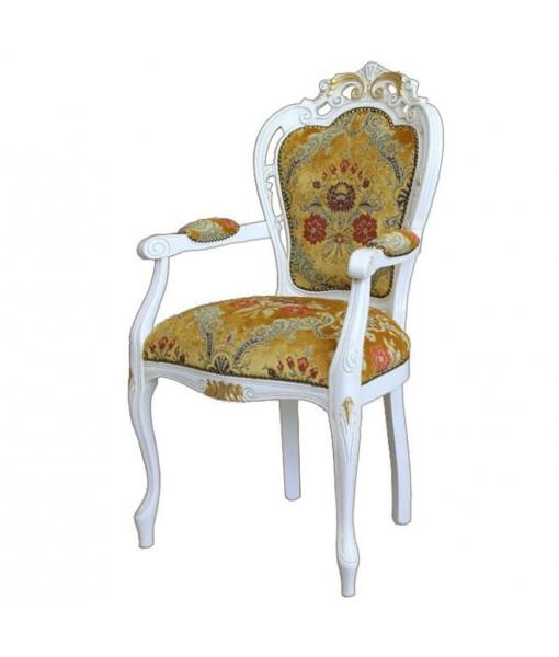 Carved armrest chair with golden details. Sku 5131