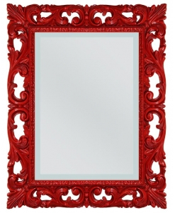 red framed venetian mirror, red mirror, red furniture, mirror, entryway mirror, venetian mirror, wooden mirror