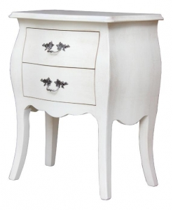 rounded lacquered nightstand, nightstand, furniture for bedroom. wooden nightstand, nightstand with 2 drawers