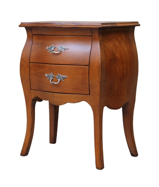 rounded nightstand, wood nightstand, bedroom furniture, bedside table, wooden bedside table, classic style bed side table, side table, 2 drawers nightstand, Arteferretto