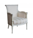 classic armchair, white armchair, solid beech armchair, wooden armchair, living room armchair