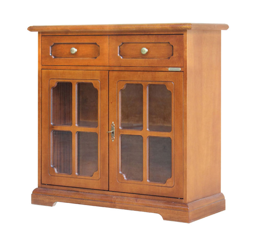 Classic Sideboard In Wood With Glass Doors Living Dining Room Buffet