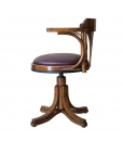 swivel leather armchair, armchair, wooden armchair, beech wood, office furniture, chair, wooden chair, armchair with leather