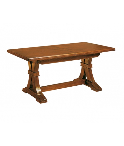 Extendable trestle dining table in wood. Sku 846