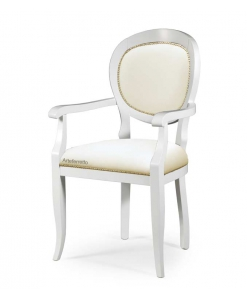 rounded chair with armrests, wooden chair, headchair, white chair, solid beech chair, padded chair