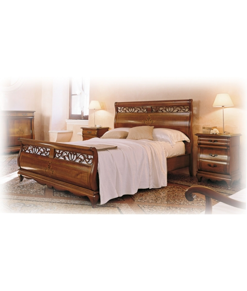 Arteferretto, inlaid double bed, sleigh bed, wood bed frame, carved bed, wooden bed, classic bed, classic furniture, bedroom furniture