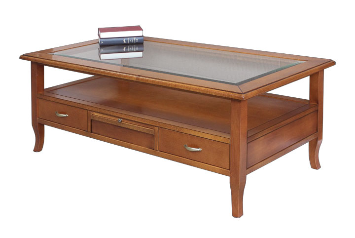 Wooden Coffee Table With 4 Drawers Glass Top 2 Pullout Shelves