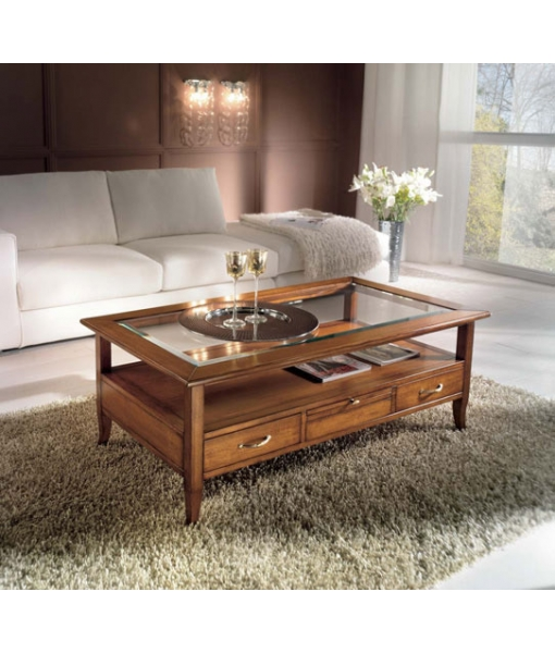 coffee table with drawers, wooden coffee table, coffee table, rectangular coffee table, living room coffee table, living room furniture, classic furniture, coffee table with glass top