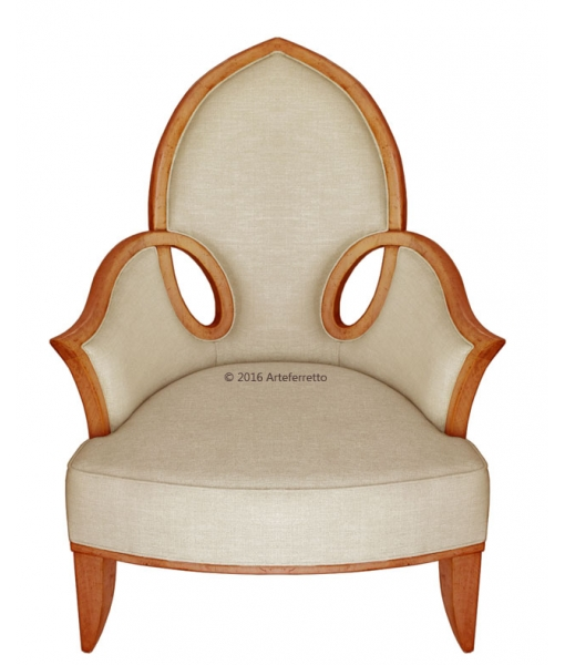 Shaped armchair with elegant wood curves. Living room chair. Sku  AF-9646