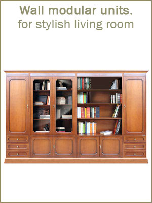 Living room wall units category, wooden wall units, traditional living room furniture