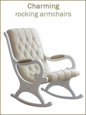 Charming rocking armchairs, wooden rocking armchairs, high quality upholstered rocking armchairs