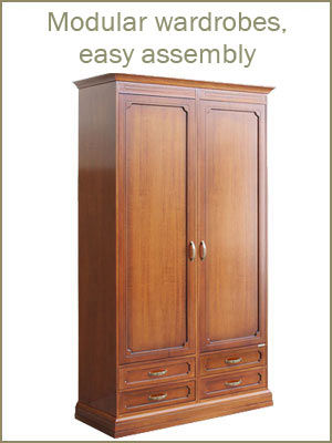Modular wardrobes, bedroom wardrobes in wood, easy assembly wardrobes