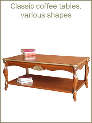 Wood coffee tables for living room, various shapes coffee tables, classic style coffee tables