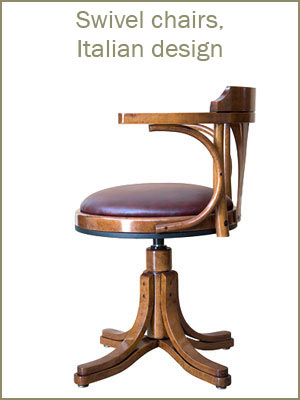 Swivel chairs category, swivel armchairs, Italian design chairs, wooden armchairs