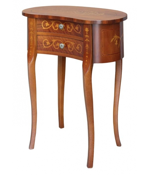 shaped side table, living room side table, wood side table, wooden console table, 2 drawers side table, inlaid side table