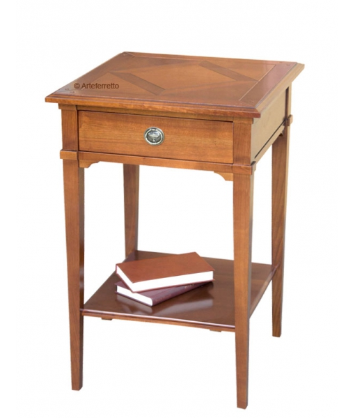 square lamp table, living room side table, wood lamp table, wood entryway furniture, side table in wood, 1 drawer side table,