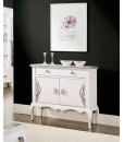 sideboard, living room sideboard, elegant sideboard, white and silver sideboard, sideboard with silver decorations