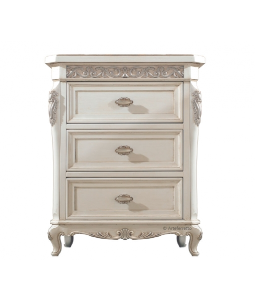 Classic nightstand with silver leaf, SKU: DV46