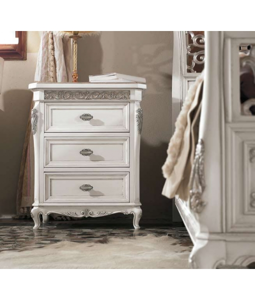 classic nightstand, silver leaf bedside table, bedside table, classic furniture, white nightstand, 3 drawer bedside table, silver leaf furniture, elegant bedside table, classic style, bedroom furniture