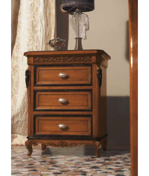 Classic nightstand with leaf details. Sku: DV54