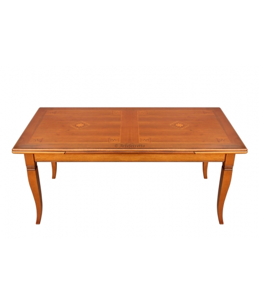 Inlaid extendable dining table. Sku E-13113