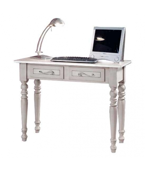 Decorated desk in solid wood. Sku E-6641