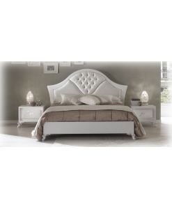 double bed, buttoned headboard bed, bedroom furniture, bed frame in wood, classic style bed, wood bed, white bed, upholstered bed, Arteferretto