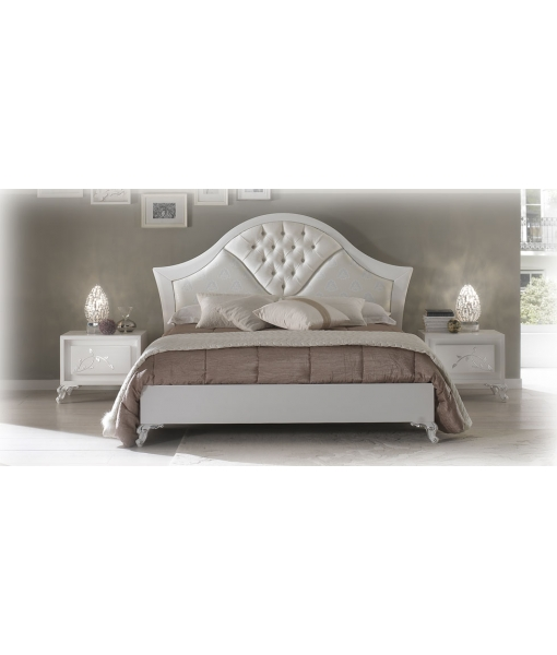 Buttoned headboard double bed for bedroom. Sku EB-106