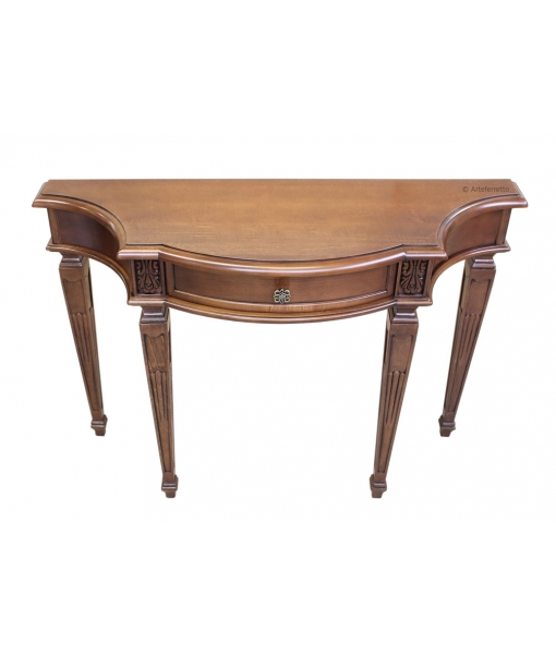 Carved console with drawer