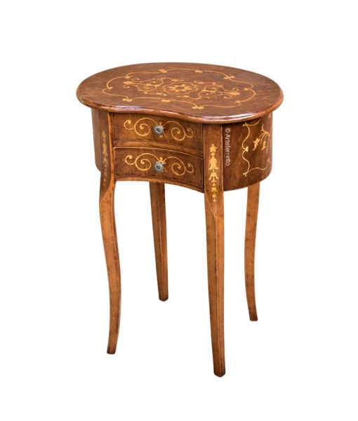 Shaped side table in wood for living room. Sku D-153
