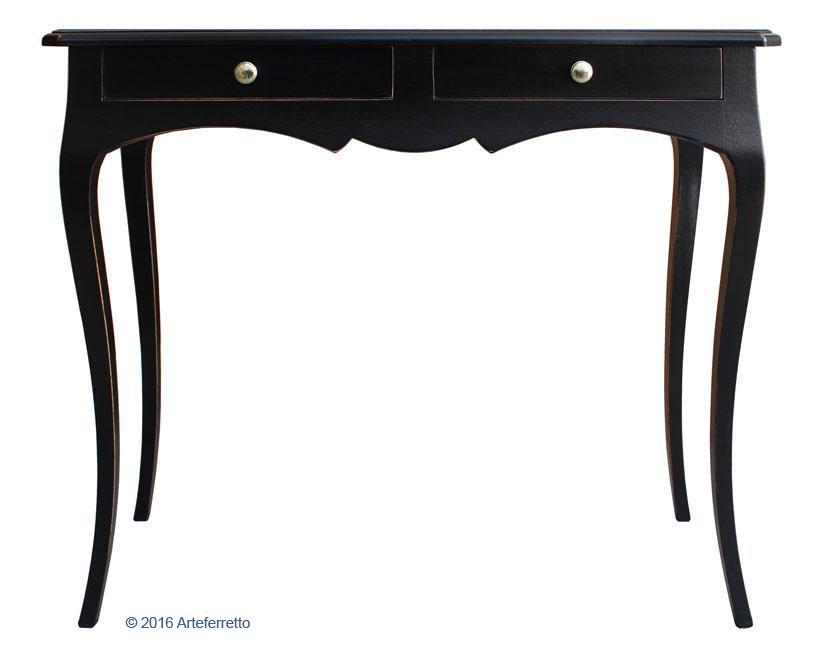 Shaped console table antique black FerrettoHome