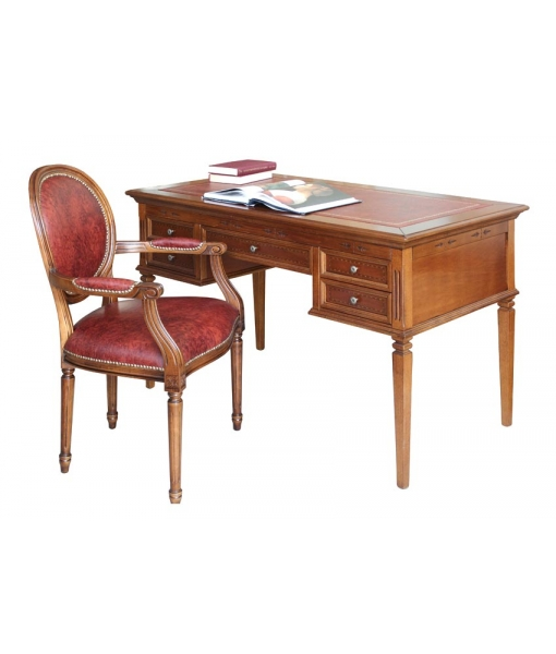 leather top desk, classic writing desk, inlaid desk, wooden writing desk, office desk, 5 drawer desk, study room writing desk, classic furniture, office furniture, wooden furniture