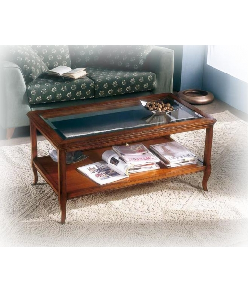 tavolino classico, tavolino con ripiano in cristallo