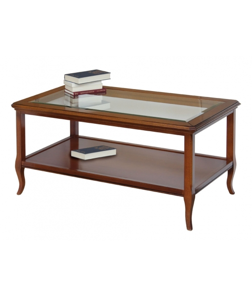 Living room rectangular table in wood and glass top. Sku F1-715