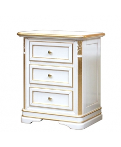 Charming nightstand in wood for classic bedroom, wooden nightstand, bedside table, bedroom furniture, classic bedside table, golden leaf, white bedside table