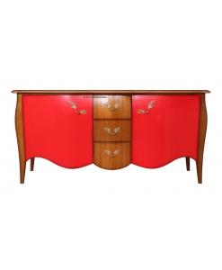 shaped sideboard, sideboard, elegant sideboard, red and cherry sideboard, sideboard for livingroom, sideboard in wood