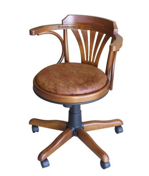 padded swivel armchair, armchair, swivel armchair, office furniture, swivel armchair in wood, wooden furniture, classic swivel chair,