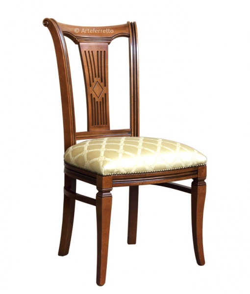 Upholstered dining chair in wood. Sku FR-43