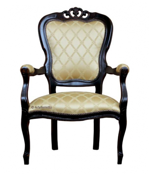 Black armchair in classic style. Sku: FR-51N fabric code: ST-18
