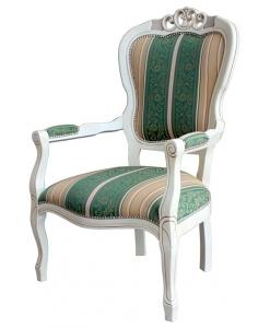 shabby chic armchair, classic armchair, white armchair, wooden armchair, living armchair, upholstered armchair