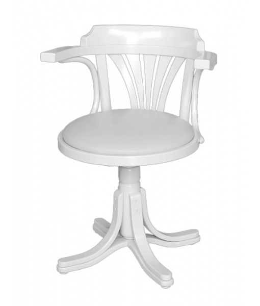swivel white armchair, armchair for office, office furniture, office chair, swivel armchair, leather padding