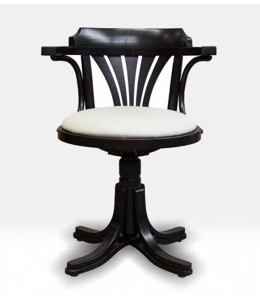 swivel white armchair, swivel black and white armchair, swivel armchair for office, wooden armchair, padded armchair, living room furniture, office furniture,