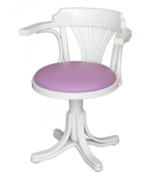 Swivel white armchair, eco-friendly leather padded. Sku. FR-840-BI