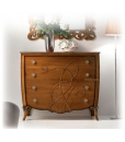 decorated dresser, wooden dresser, cherry wood dresser, shaped dresser, chest of drawers, bedroom furniture, classic style furniture, italian design