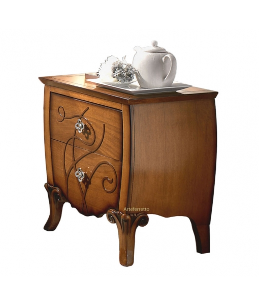 Decorated bedside table in wood for elegant bedroom. Sku FS-662