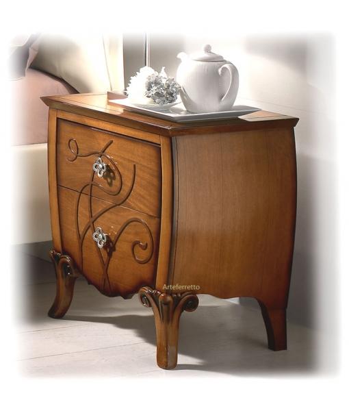 decorated bedside table, wooden bedside table, elegant nightstand, bedroom furniture, classic bedside table, italian design, artisan furniture, handmade