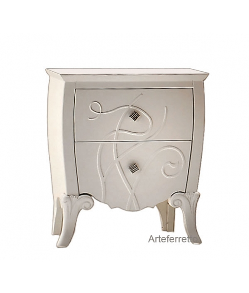 decorated bedside table, wooden bedside table, elegant nightstand, bedroom furniture, classic bedside table, italian design, artisan furniture, handmade , white bedside table, lacquered furniture