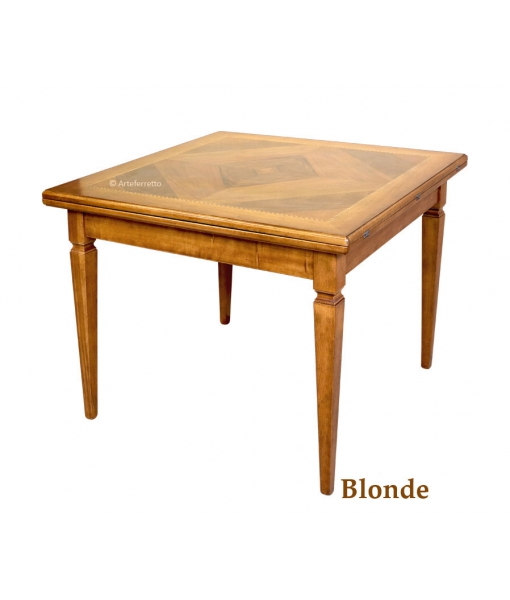 Flip top extending table, extendable table, squared table, kitchen table, dining room square table, wooden table, classic style table, inlaid table