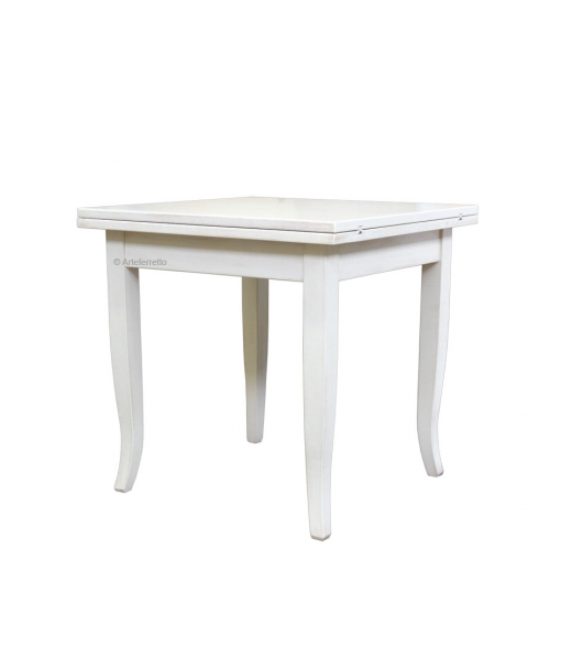 white squared table, white table, table with saber legs, flip-top square table, squared table, classic table, dining table, dining room furniture, furniture made in Italy, solid wood table, toulipier solid table, wooden table