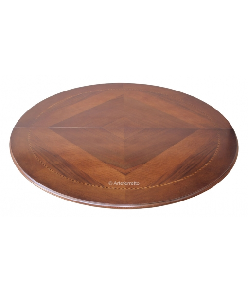 round inlaid table, extendable table